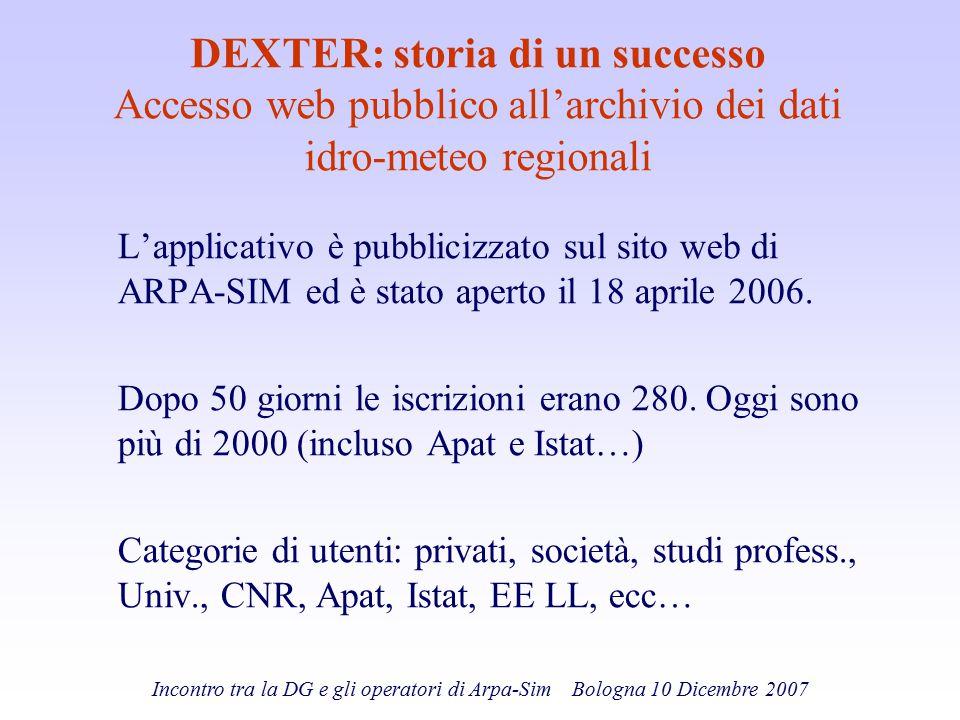 Incontro tra la DG e gli operatori di Arpa-Sim Bologna 10 Dicembre 2007 DEXTER: storia di un successo Accesso web pubblico all'archivio dei dati idro-
