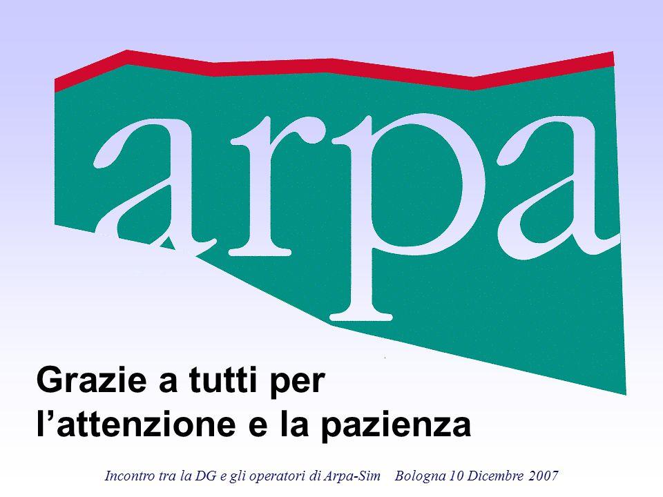 Incontro tra la DG e gli operatori di Arpa-Sim Bologna 10 Dicembre 2007 Grazie a tutti per l'attenzione e la pazienza
