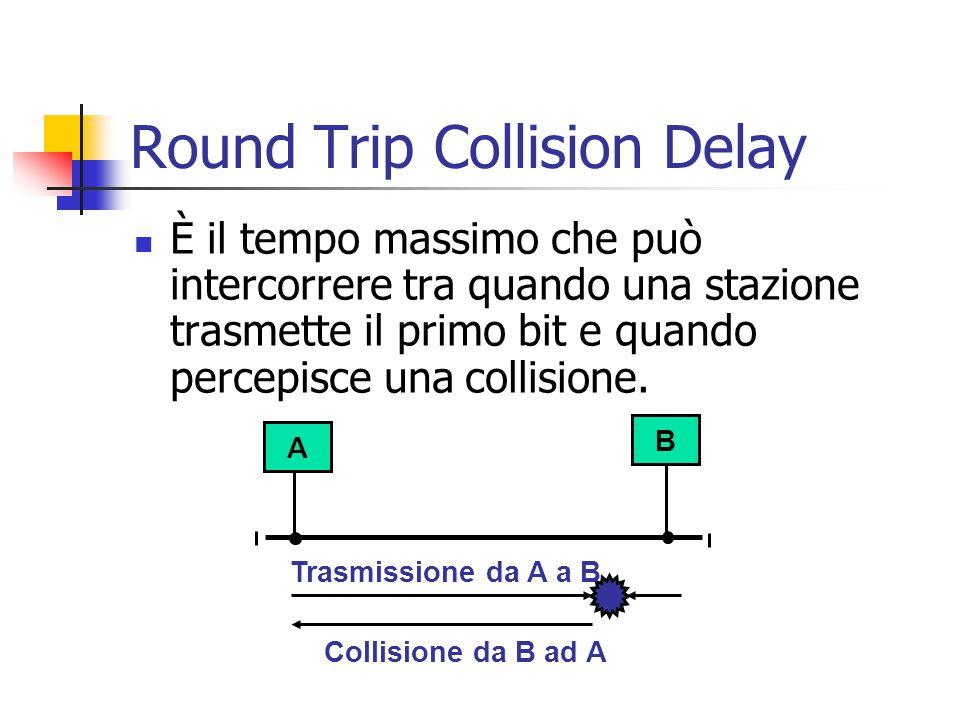 Round Trip Collision Delay È il tempo massimo che può intercorrere tra quando una stazione trasmette il primo bit e quando percepisce una collisione.