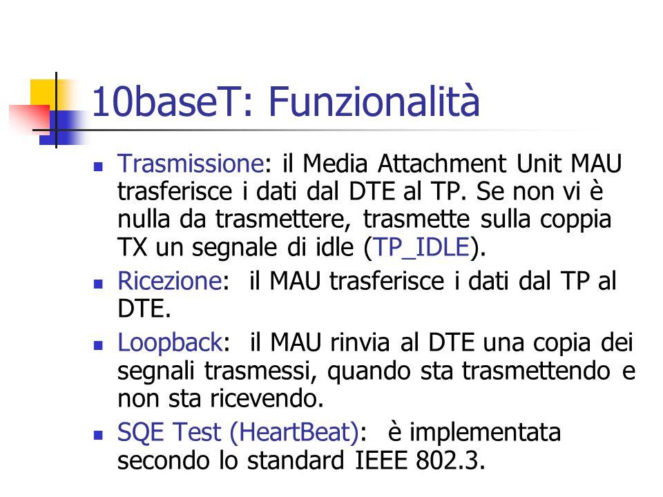10baseT: Funzionalità Trasmissione: il Media Attachment Unit MAU trasferisce i dati dal DTE al TP. Se non vi è nulla da trasmettere, trasmette sulla c