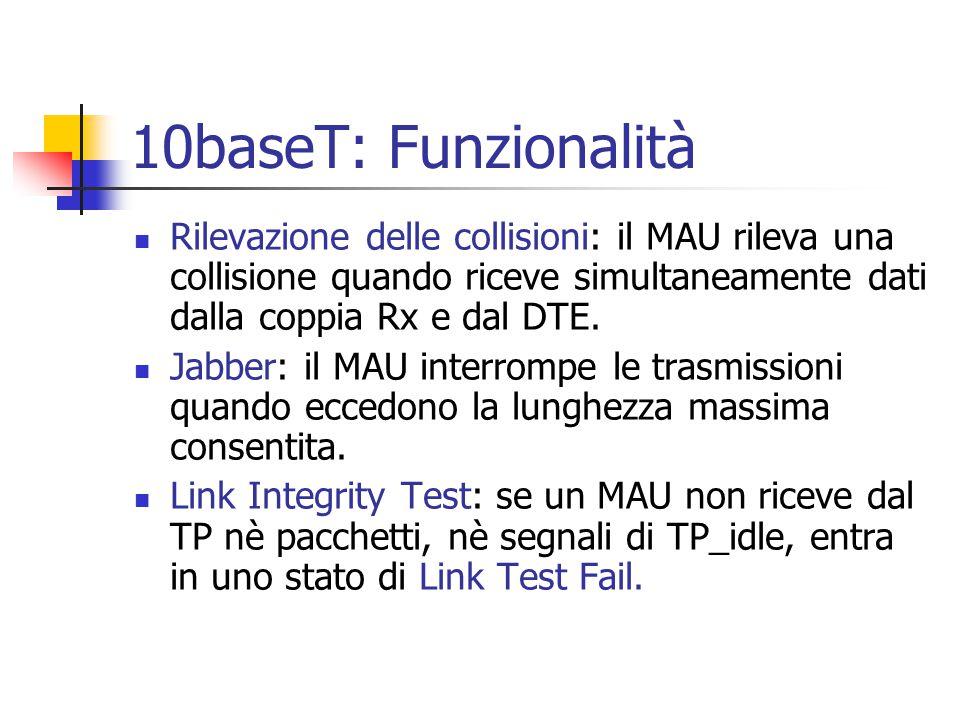 10baseT: Funzionalità Rilevazione delle collisioni: il MAU rileva una collisione quando riceve simultaneamente dati dalla coppia Rx e dal DTE. Jabber: