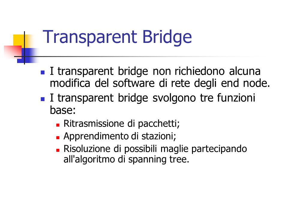 Transparent Bridge I transparent bridge non richiedono alcuna modifica del software di rete degli end node. I transparent bridge svolgono tre funzioni