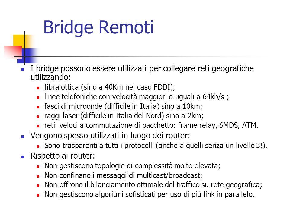 Bridge Remoti I bridge possono essere utilizzati per collegare reti geografiche utilizzando: fibra ottica (sino a 40Km nel caso FDDI); linee telefonic