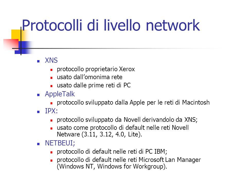 XNS protocollo proprietario Xerox usato dall'omonima rete usato dalle prime reti di PC AppleTalk protocollo sviluppato dalla Apple per le reti di Maci