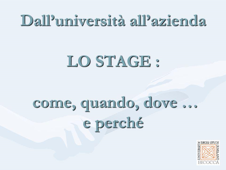 Una tesi sullo stage Se l'esperienza dello stage è significativa per contenuto e durata può contribuire alla preparazione della tesi di laurea.