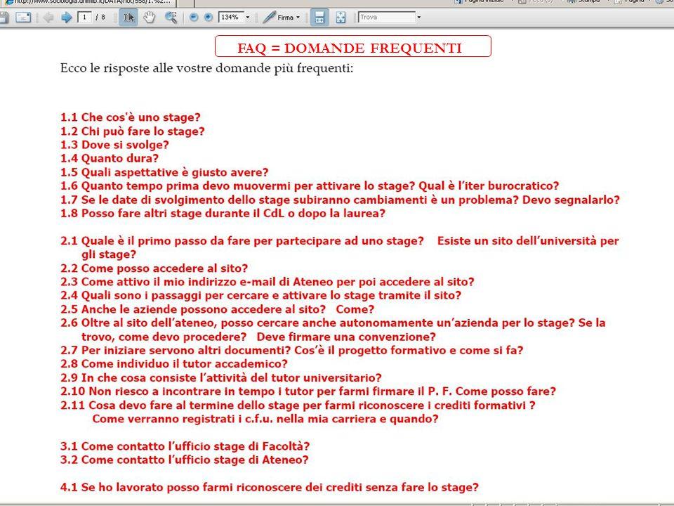 FAQ = DOMANDE FREQUENTI