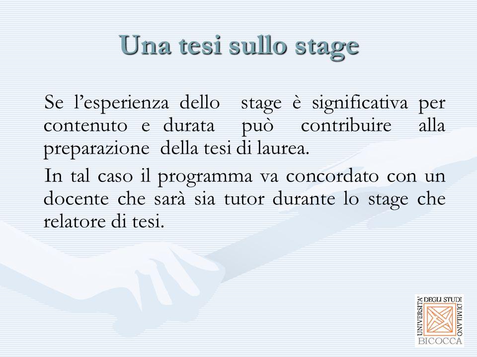 Una tesi sullo stage Se l'esperienza dello stage è significativa per contenuto e durata può contribuire alla preparazione della tesi di laurea. In tal