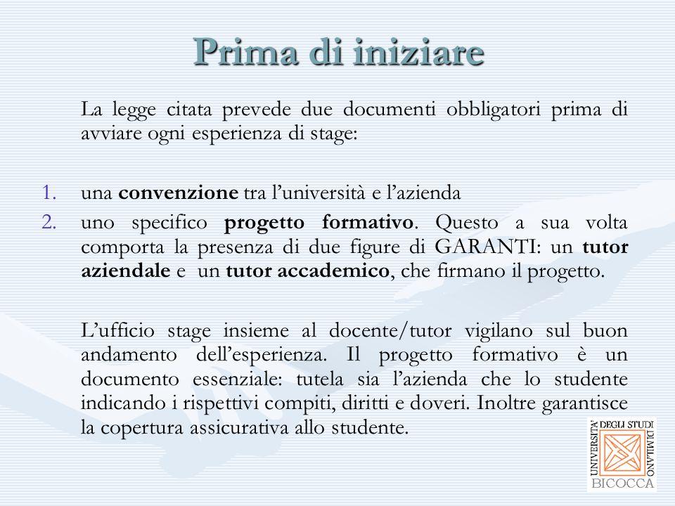 Prima di iniziare La legge citata prevede due documenti obbligatori prima di avviare ogni esperienza di stage: 1. 1.una convenzione tra l'università e