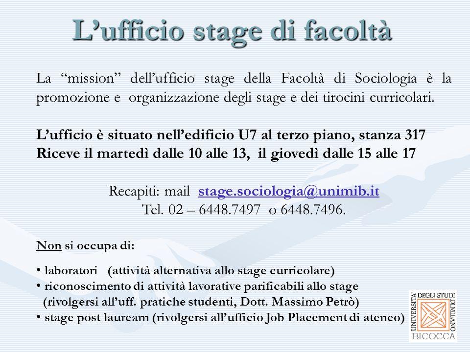 """L'ufficio stage di facoltà La """"mission"""" dell'ufficio stage della Facoltà di Sociologia è la promozione e organizzazione degli stage e dei tirocini cur"""