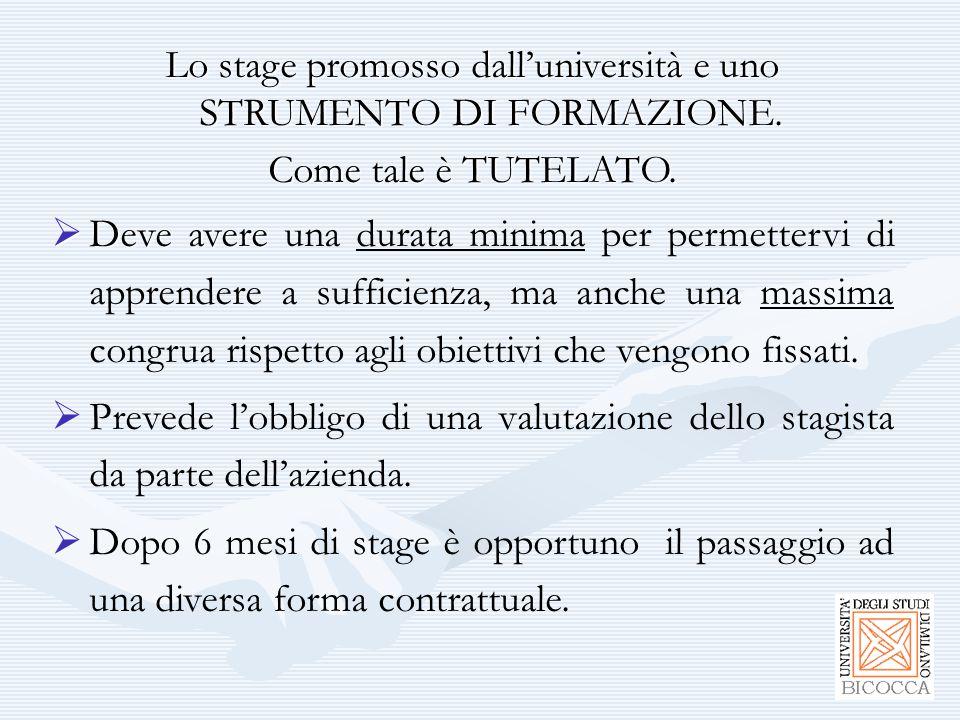 Lo stage promosso dall'università e uno STRUMENTO DI FORMAZIONE. Come tale è TUTELATO.  Deve avere  Deve avere una durata minima per permettervi di