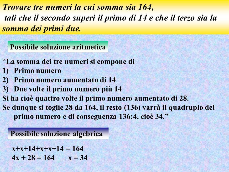 Trovare tre numeri la cui somma sia 164, tali che il secondo superi il primo di 14 e che il terzo sia la somma dei primi due. Possibile soluzione arit
