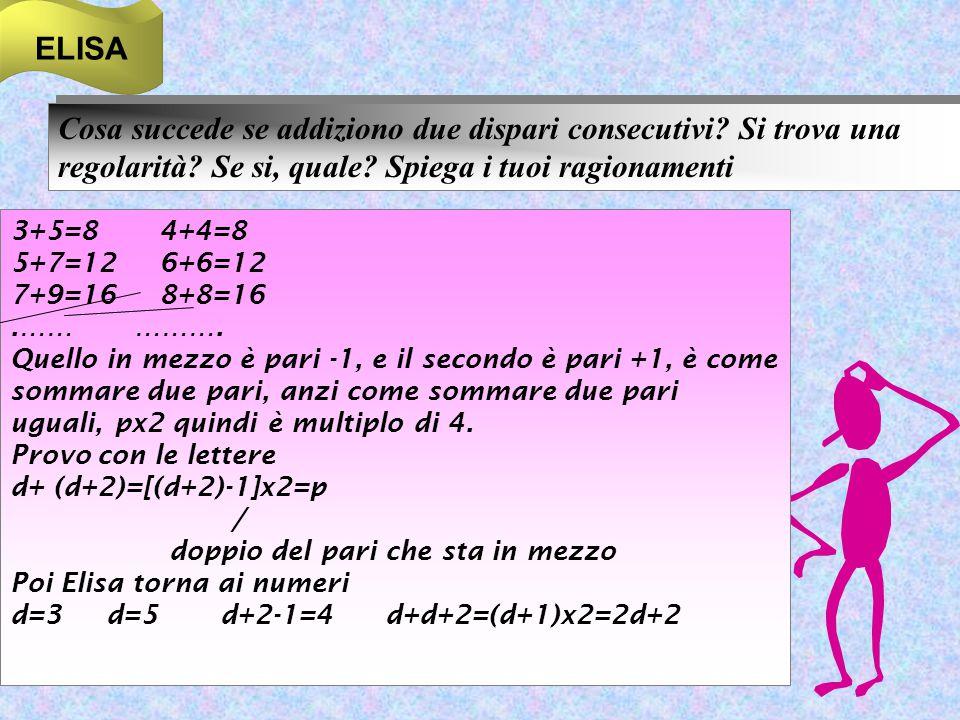 ELISA Cosa succede se addiziono due dispari consecutivi? Si trova una regolarità? Se si, quale? Spiega i tuoi ragionamenti 3+5=8 4+4=8 5+7=12 6+6=12 7