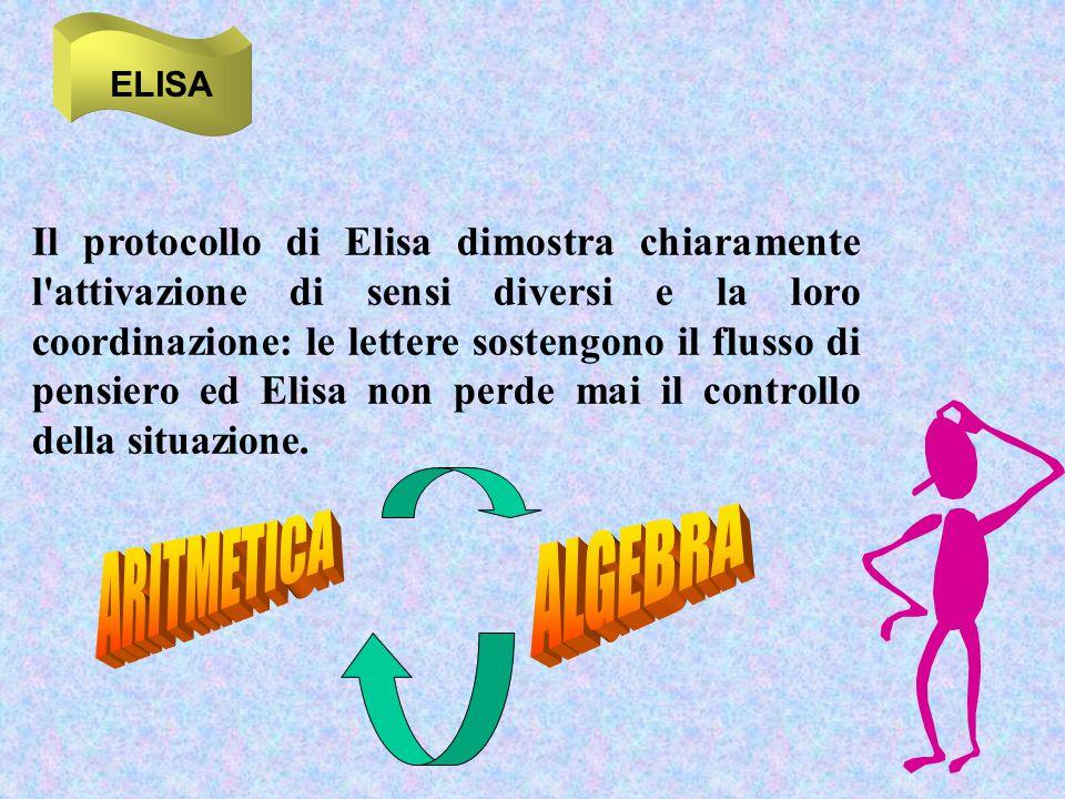 ELISA Il protocollo di Elisa dimostra chiaramente l'attivazione di sensi diversi e la loro coordinazione: le lettere sostengono il flusso di pensiero