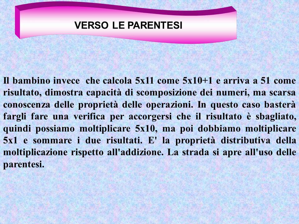 Il bambino invece che calcola 5x11 come 5x10+1 e arriva a 51 come risultato, dimostra capacità di scomposizione dei numeri, ma scarsa conoscenza delle