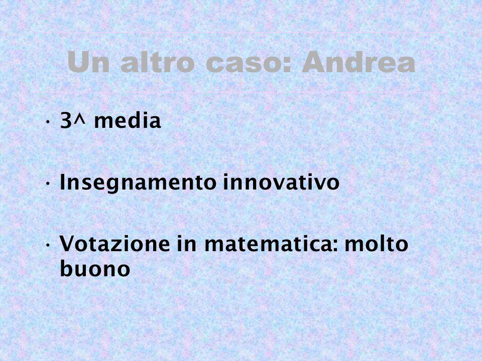 Un altro caso: Andrea 3^ media Insegnamento innovativo Votazione in matematica: molto buono