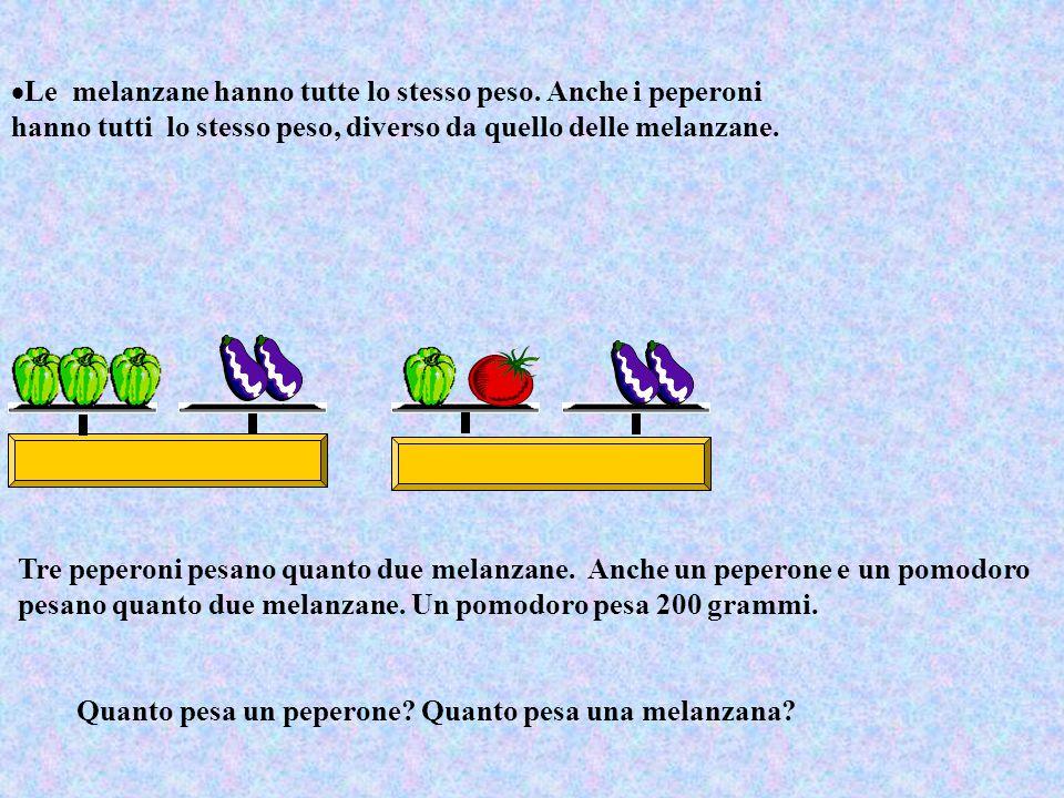  Le melanzane hanno tutte lo stesso peso. Anche i peperoni hanno tutti lo stesso peso, diverso da quello delle melanzane. Tre peperoni pesano quanto