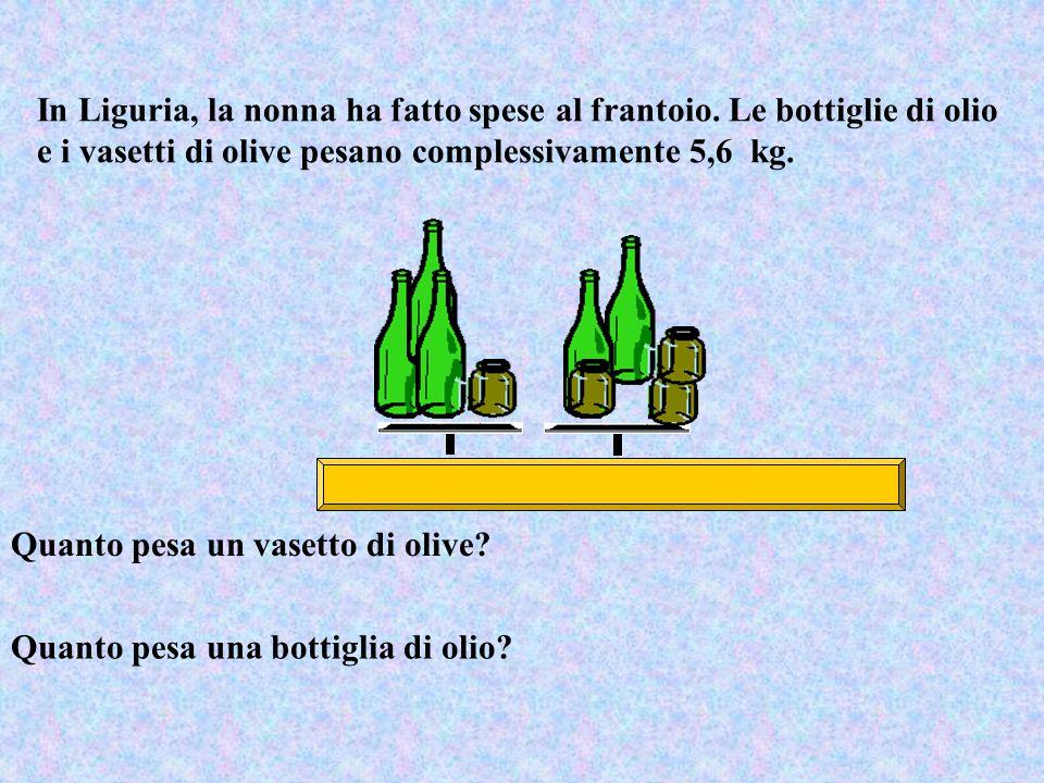 In Liguria, la nonna ha fatto spese al frantoio. Le bottiglie di olio e i vasetti di olive pesano complessivamente 5,6 kg. Quanto pesa un vasetto di o