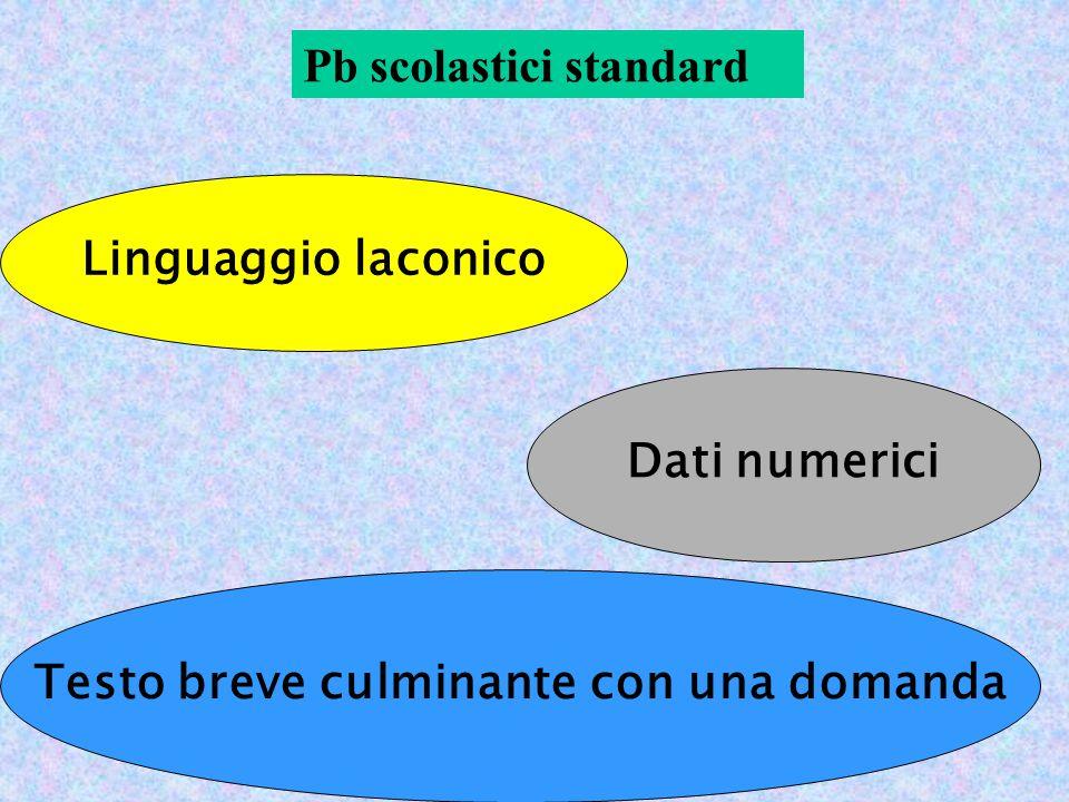 Pb scolastici standard Linguaggio laconico Dati numerici Testo breve culminante con una domanda