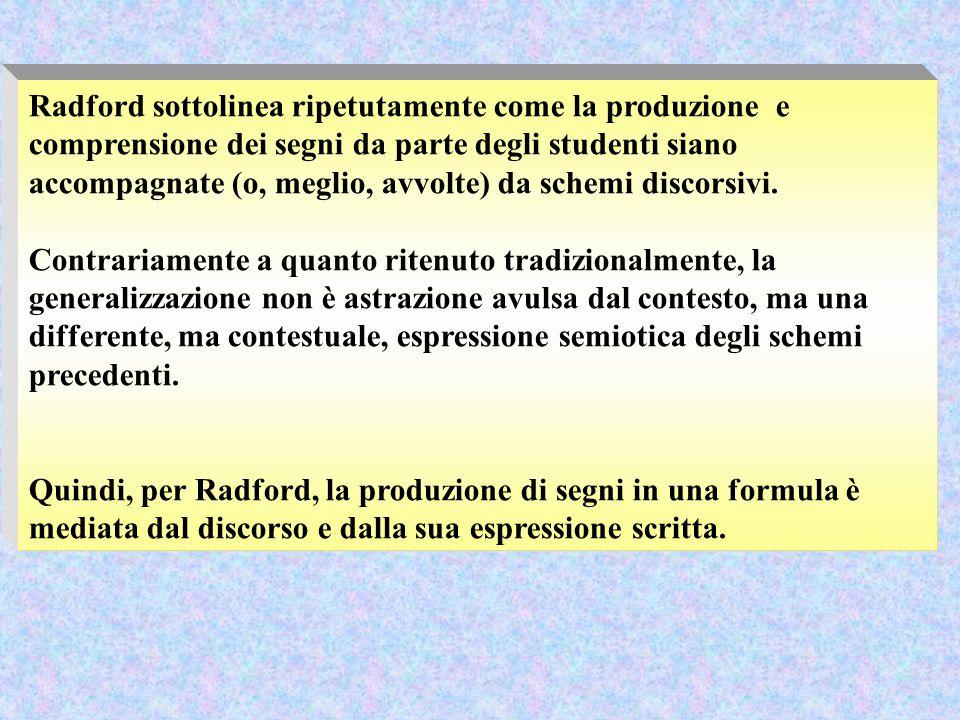 Radford sottolinea ripetutamente come la produzione e comprensione dei segni da parte degli studenti siano accompagnate (o, meglio, avvolte) da schemi