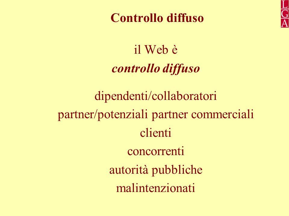 Controllo diffuso il Web è controllo diffuso dipendenti/collaboratori partner/potenziali partner commerciali clienti concorrenti autorità pubbliche malintenzionati
