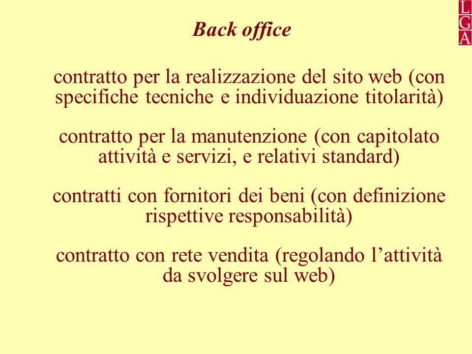 Back office contratto per la realizzazione del sito web (con specifiche tecniche e individuazione titolarità) contratto per la manutenzione (con capitolato attività e servizi, e relativi standard) contratti con fornitori dei beni (con definizione rispettive responsabilità) contratto con rete vendita (regolando l'attività da svolgere sul web)