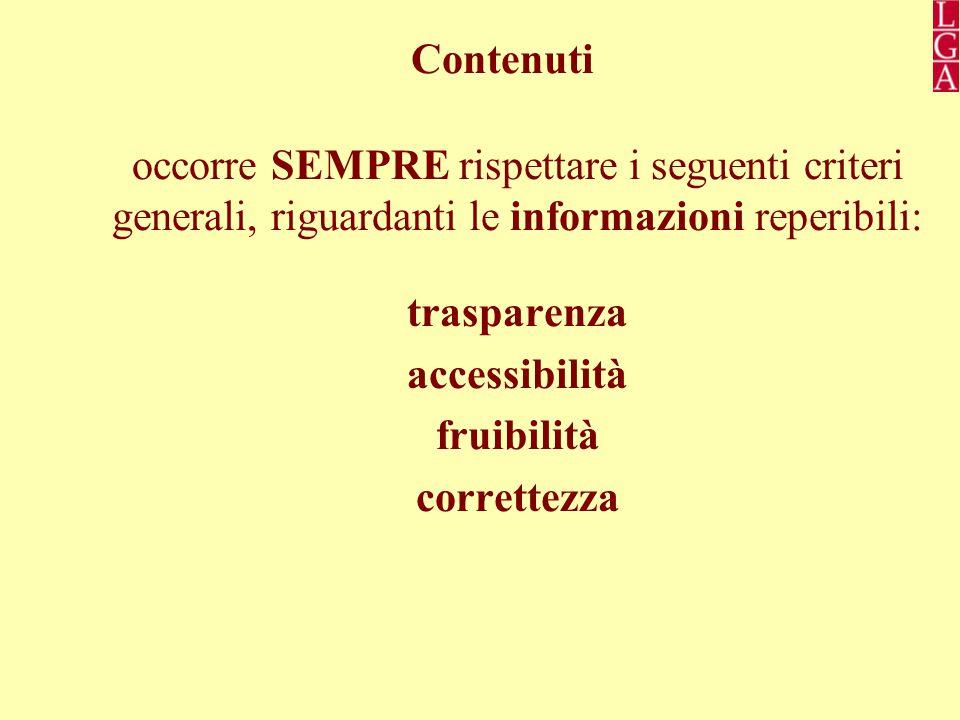 Contenuti occorre SEMPRE rispettare i seguenti criteri generali, riguardanti le informazioni reperibili: trasparenza accessibilità fruibilità correttezza