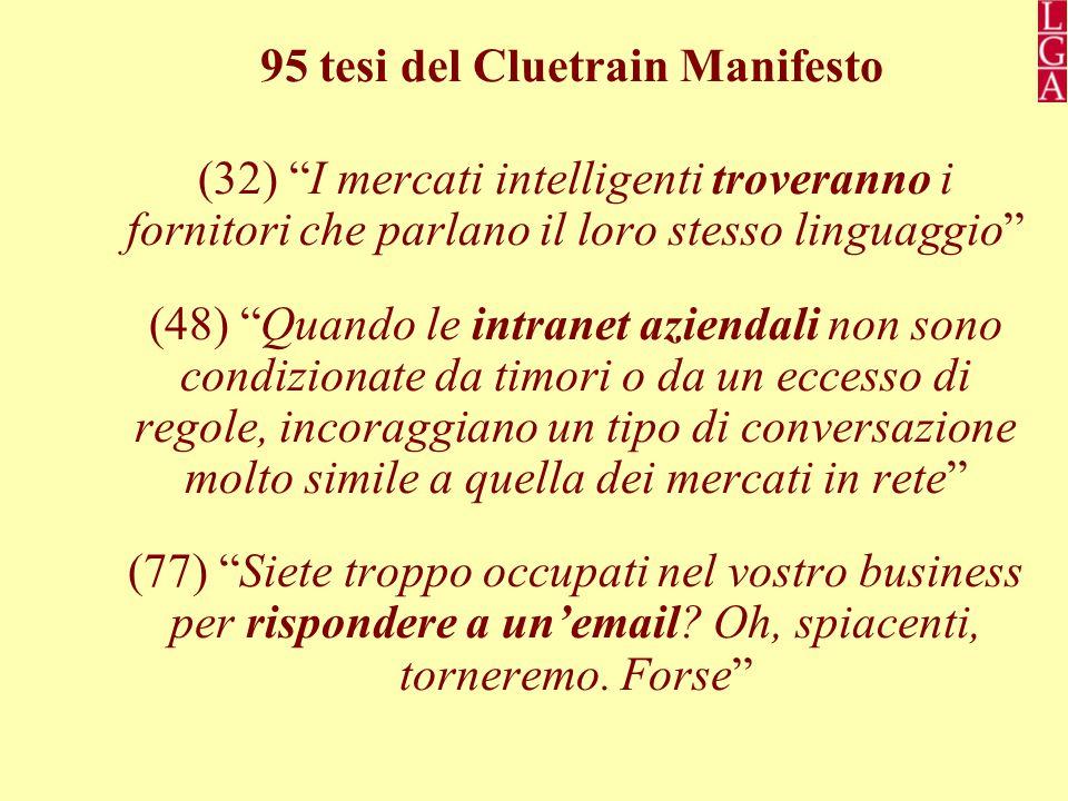 95 tesi del Cluetrain Manifesto (32) I mercati intelligenti troveranno i fornitori che parlano il loro stesso linguaggio (48) Quando le intranet aziendali non sono condizionate da timori o da un eccesso di regole, incoraggiano un tipo di conversazione molto simile a quella dei mercati in rete (77) Siete troppo occupati nel vostro business per rispondere a un'email.