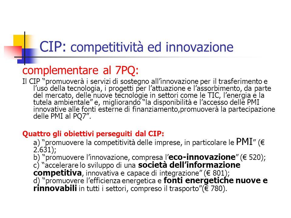 CIP: competitività ed innovazione complementare al 7PQ: Il CIP promuoverà i servizi di sostegno all'innovazione per il trasferimento e l'uso della tecnologia, i progetti per l'attuazione e l'assorbimento, da parte del mercato, delle nuove tecnologie in settori come le TIC, l'energia e la tutela ambientale e, migliorando la disponibilità e l'accesso delle PMI innovative alle fonti esterne di finanziamento,promuoverà la partecipazione delle PMI al PQ7 .