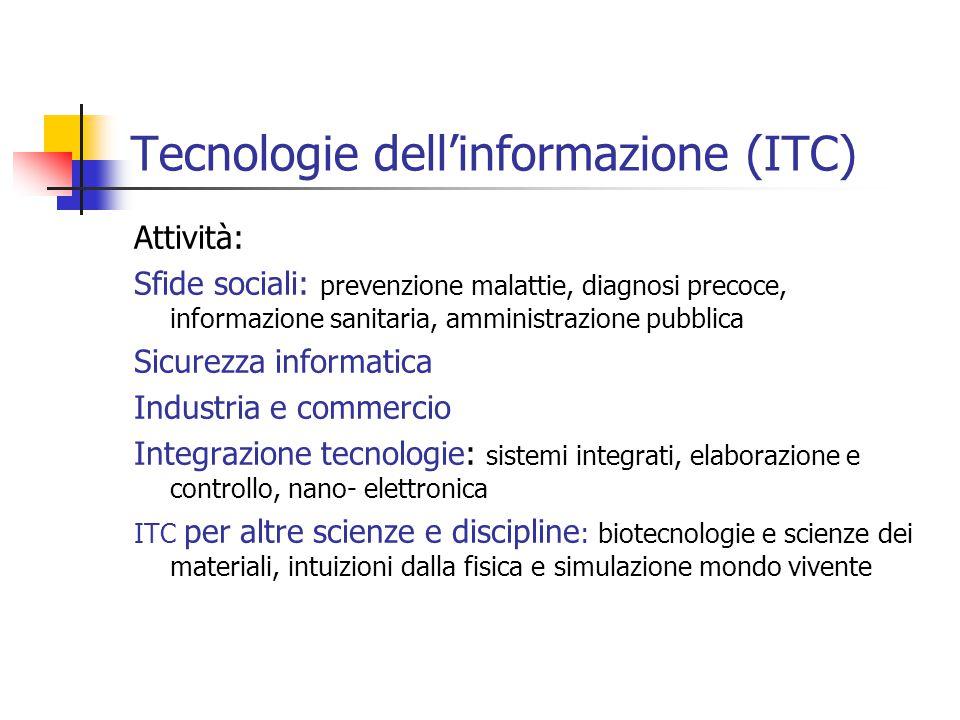 Tecnologie dell'informazione (ITC) Attività: Sfide sociali: prevenzione malattie, diagnosi precoce, informazione sanitaria, amministrazione pubblica S