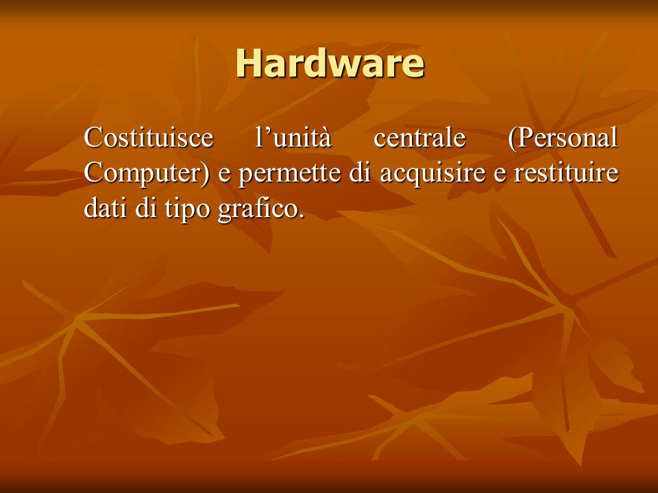 Hardware Costituisce l'unità centrale (Personal Computer) e permette di acquisire e restituire dati di tipo grafico. Costituisce l'unità centrale (Per