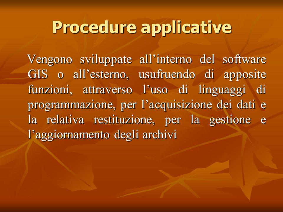 Procedure applicative Vengono sviluppate all'interno del software GIS o all'esterno, usufruendo di apposite funzioni, attraverso l'uso di linguaggi di