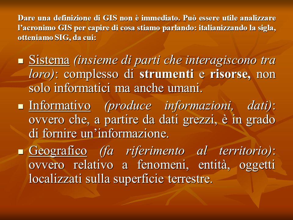 Dare una definizione di GIS non è immediato. Può essere utile analizzare l'acronimo GIS per capire di cosa stiamo parlando: italianizzando la sigla, o