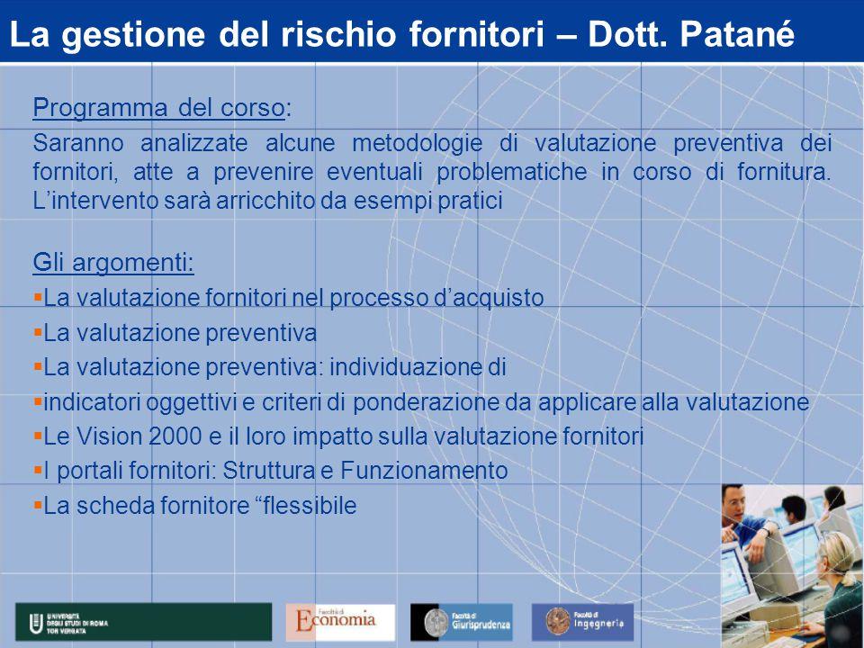 La gestione del rischio fornitori – Dott.