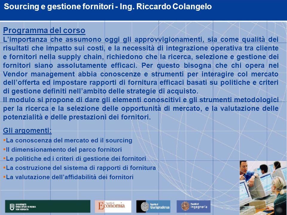 Sourcing e gestione fornitori - Ing. Riccardo Colangelo Gli argomenti:  La conoscenza del mercato ed il sourcing  Il dimensionamento del parco forni