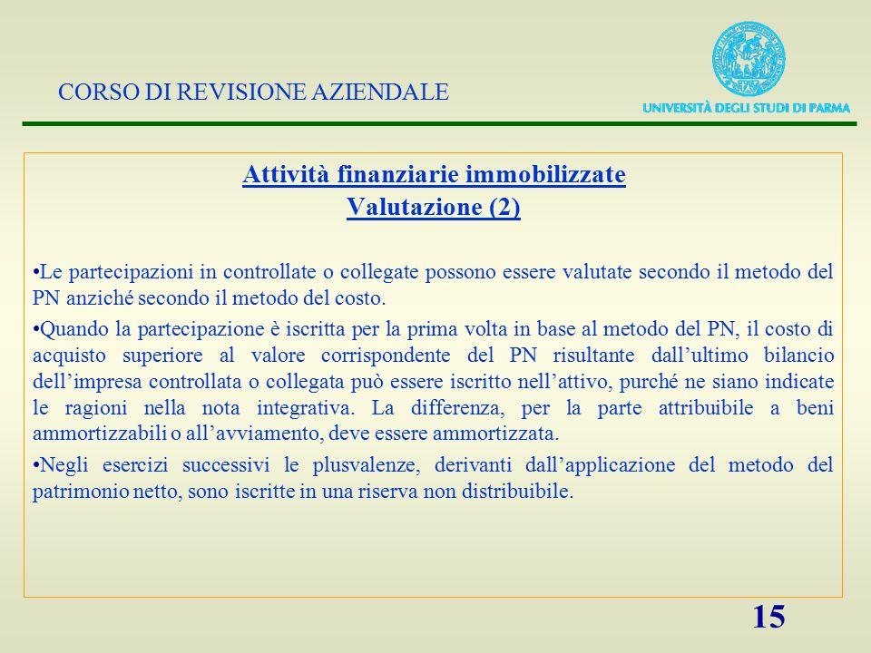 CORSO DI REVISIONE AZIENDALE 15 Attività finanziarie immobilizzate Valutazione (2) Le partecipazioni in controllate o collegate possono essere valutat