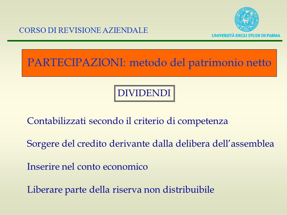 CORSO DI REVISIONE AZIENDALE PARTECIPAZIONI: metodo del patrimonio netto DIVIDENDI Contabilizzati secondo il criterio di competenza Sorgere del credit
