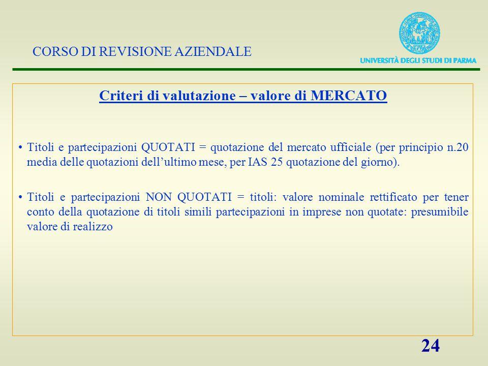 CORSO DI REVISIONE AZIENDALE 24 Criteri di valutazione – valore di MERCATO Titoli e partecipazioni QUOTATI = quotazione del mercato ufficiale (per pri