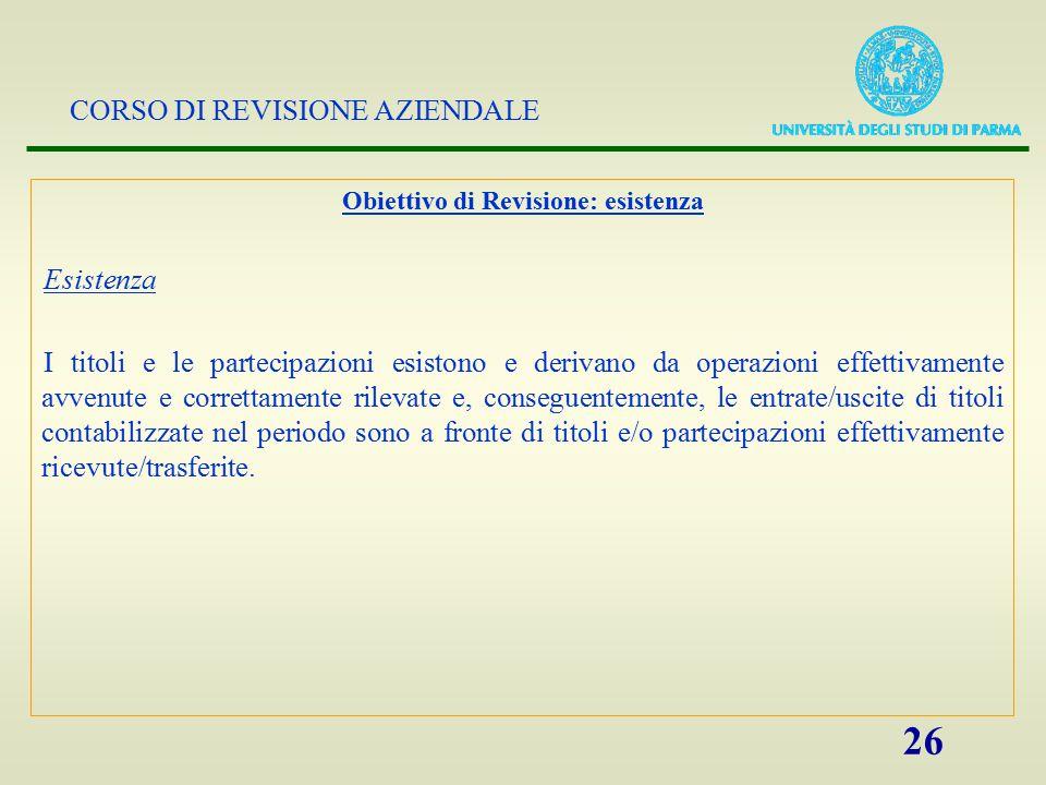 CORSO DI REVISIONE AZIENDALE 26 Obiettivo di Revisione: esistenza Esistenza I titoli e le partecipazioni esistono e derivano da operazioni effettivame
