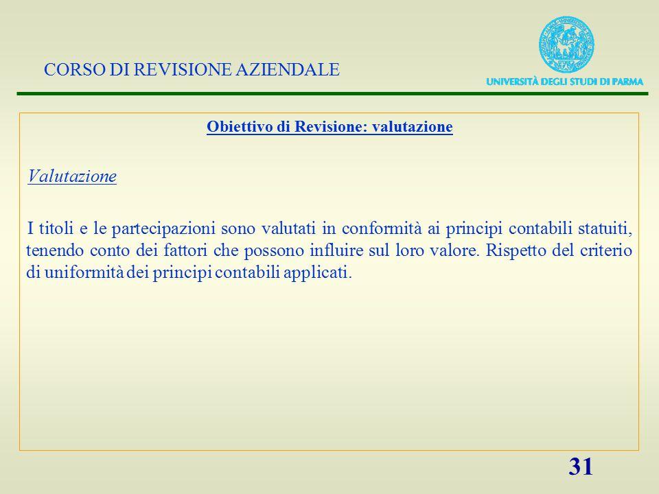 CORSO DI REVISIONE AZIENDALE 31 Obiettivo di Revisione: valutazione Valutazione I titoli e le partecipazioni sono valutati in conformità ai principi c