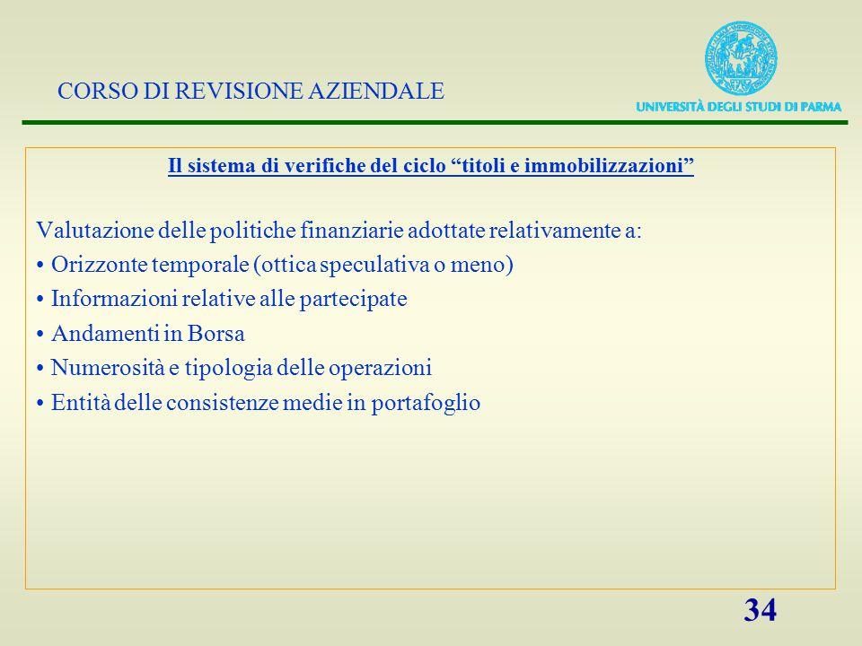 """CORSO DI REVISIONE AZIENDALE 34 Il sistema di verifiche del ciclo """"titoli e immobilizzazioni"""" Valutazione delle politiche finanziarie adottate relativ"""