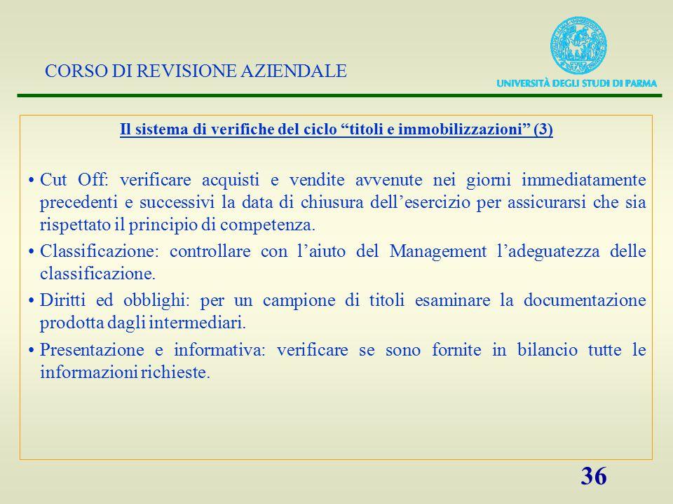"""CORSO DI REVISIONE AZIENDALE 36 Il sistema di verifiche del ciclo """"titoli e immobilizzazioni"""" (3) Cut Off: verificare acquisti e vendite avvenute nei"""