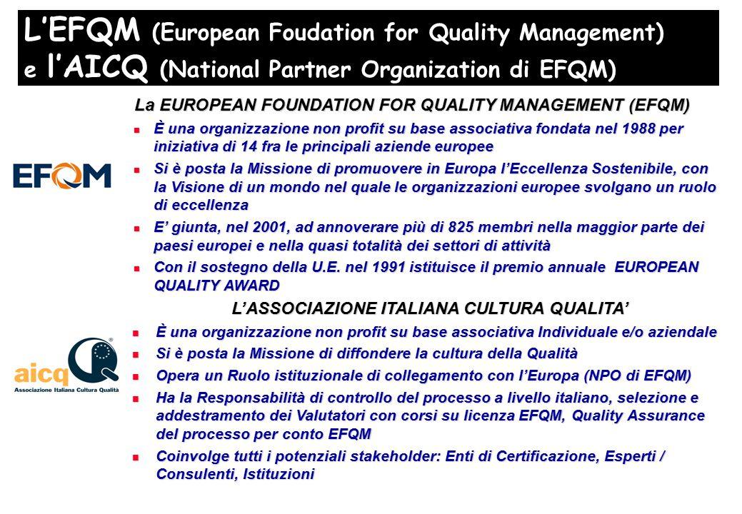 L'EFQM (European Foudation for Quality Management) e l'AICQ (National Partner Organization di EFQM) La EUROPEAN FOUNDATION FOR QUALITY MANAGEMENT (EFQM) È una organizzazione non profit su base associativa fondata nel 1988 per iniziativa di 14 fra le principali aziende europee È una organizzazione non profit su base associativa fondata nel 1988 per iniziativa di 14 fra le principali aziende europee Si è posta la Missione di promuovere in Europa l'Eccellenza Sostenibile, con la Visione di un mondo nel quale le organizzazioni europee svolgano un ruolo di eccellenza Si è posta la Missione di promuovere in Europa l'Eccellenza Sostenibile, con la Visione di un mondo nel quale le organizzazioni europee svolgano un ruolo di eccellenza E' giunta, nel 2001, ad annoverare più di 825 membri nella maggior parte dei paesi europei e nella quasi totalità dei settori di attività E' giunta, nel 2001, ad annoverare più di 825 membri nella maggior parte dei paesi europei e nella quasi totalità dei settori di attività Con il sostegno della U.E.