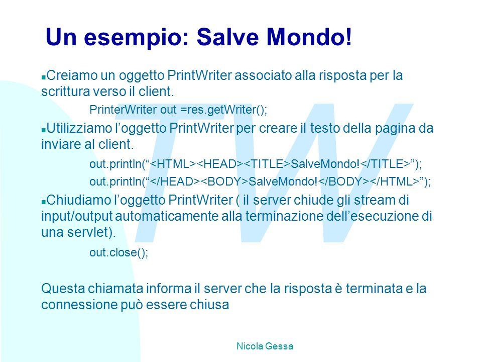 TW Nicola Gessa Un esempio: Salve Mondo.