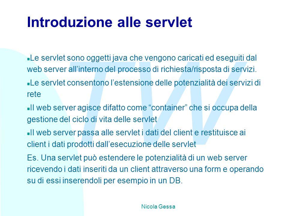 TW Nicola Gessa Introduzione alle servlet n Le servlet sono oggetti java che vengono caricati ed eseguiti dal web server all'interno del processo di richiesta/risposta di servizi.