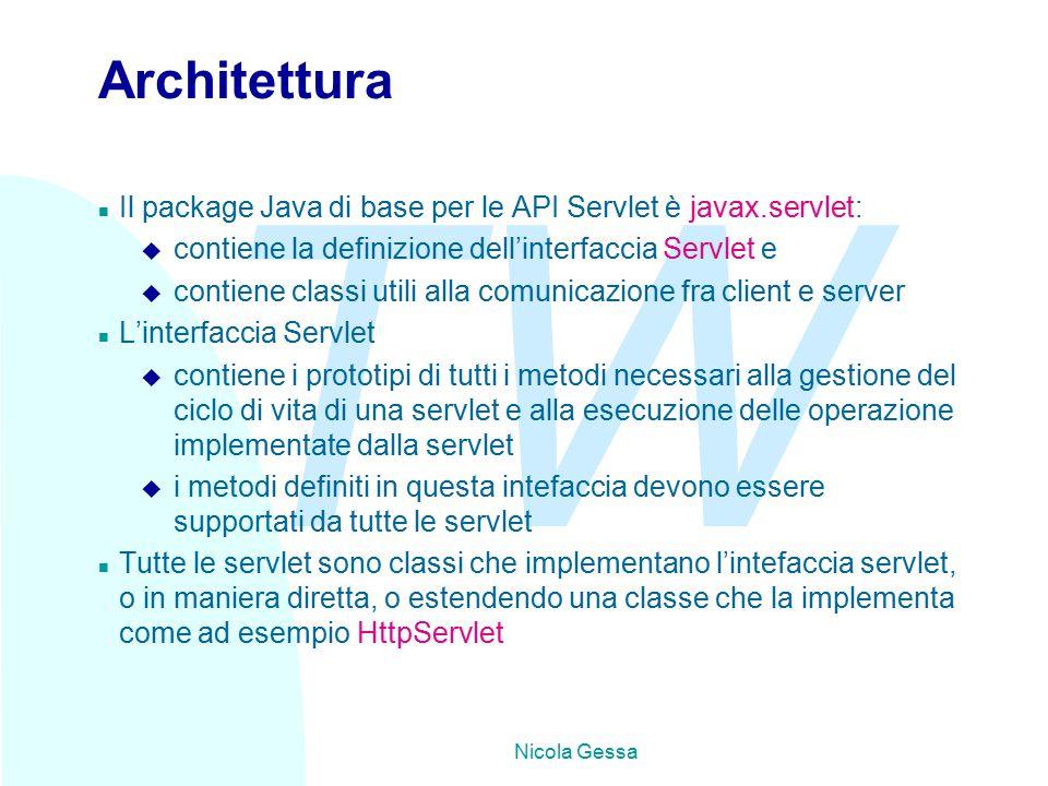 TW Nicola Gessa Architettura n Il package Java di base per le API Servlet è javax.servlet: u contiene la definizione dell'interfaccia Servlet e u contiene classi utili alla comunicazione fra client e server n L'interfaccia Servlet u contiene i prototipi di tutti i metodi necessari alla gestione del ciclo di vita di una servlet e alla esecuzione delle operazione implementate dalla servlet u i metodi definiti in questa intefaccia devono essere supportati da tutte le servlet n Tutte le servlet sono classi che implementano l'intefaccia servlet, o in maniera diretta, o estendendo una classe che la implementa come ad esempio HttpServlet