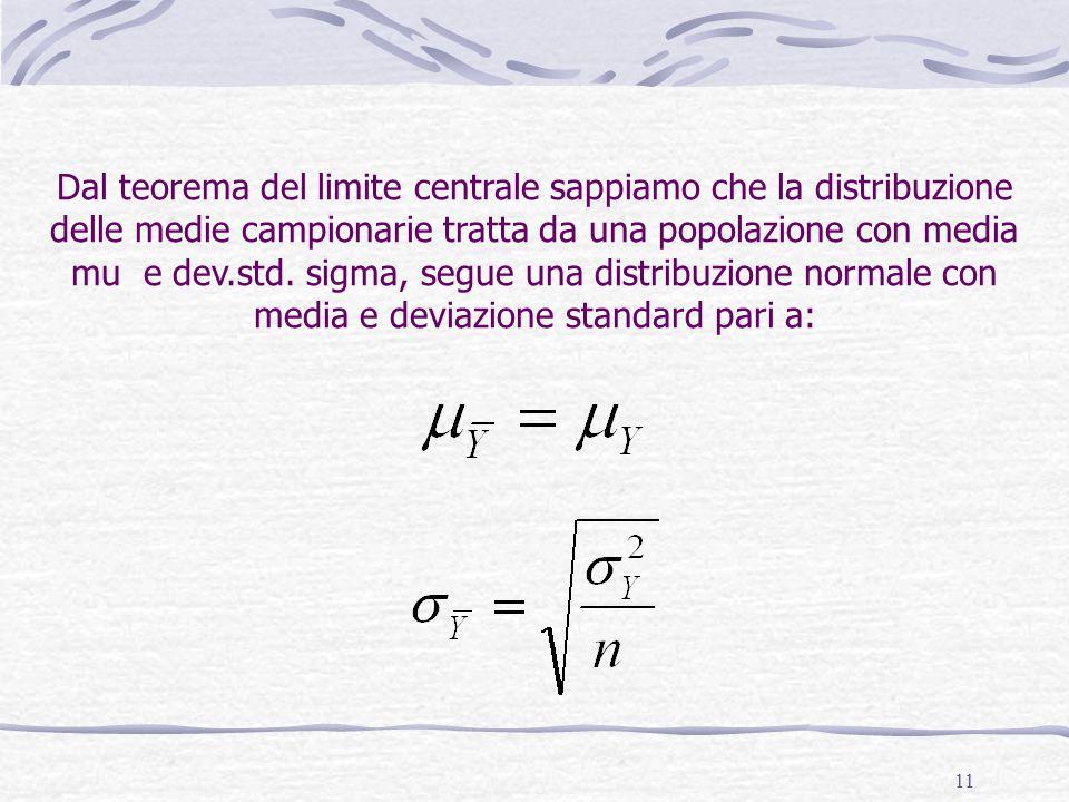 11 Dal teorema del limite centrale sappiamo che la distribuzione delle medie campionarie tratta da una popolazione con media mu e dev.std. sigma, segu