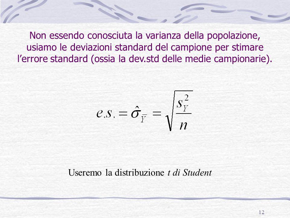 12 Non essendo conosciuta la varianza della popolazione, usiamo le deviazioni standard del campione per stimare l'errore standard (ossia la dev.std de