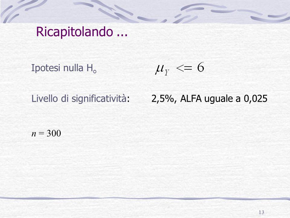 13 Ipotesi nulla H o Livello di significatività: 2,5%, ALFA uguale a 0,025 n = 300 Ricapitolando...