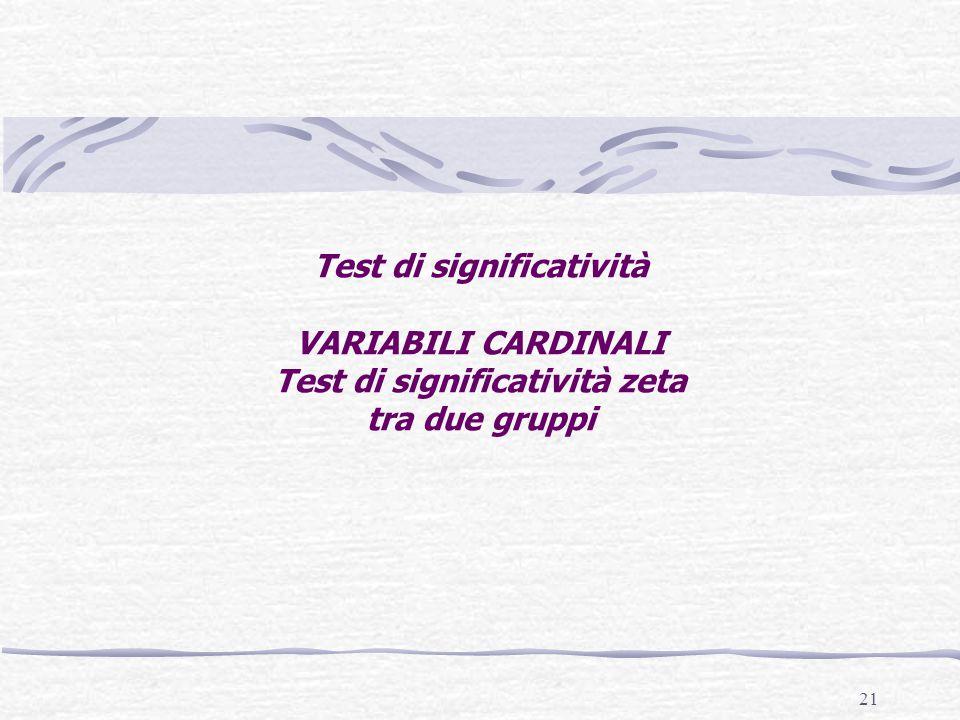 21 Test di significatività VARIABILI CARDINALI Test di significatività zeta tra due gruppi