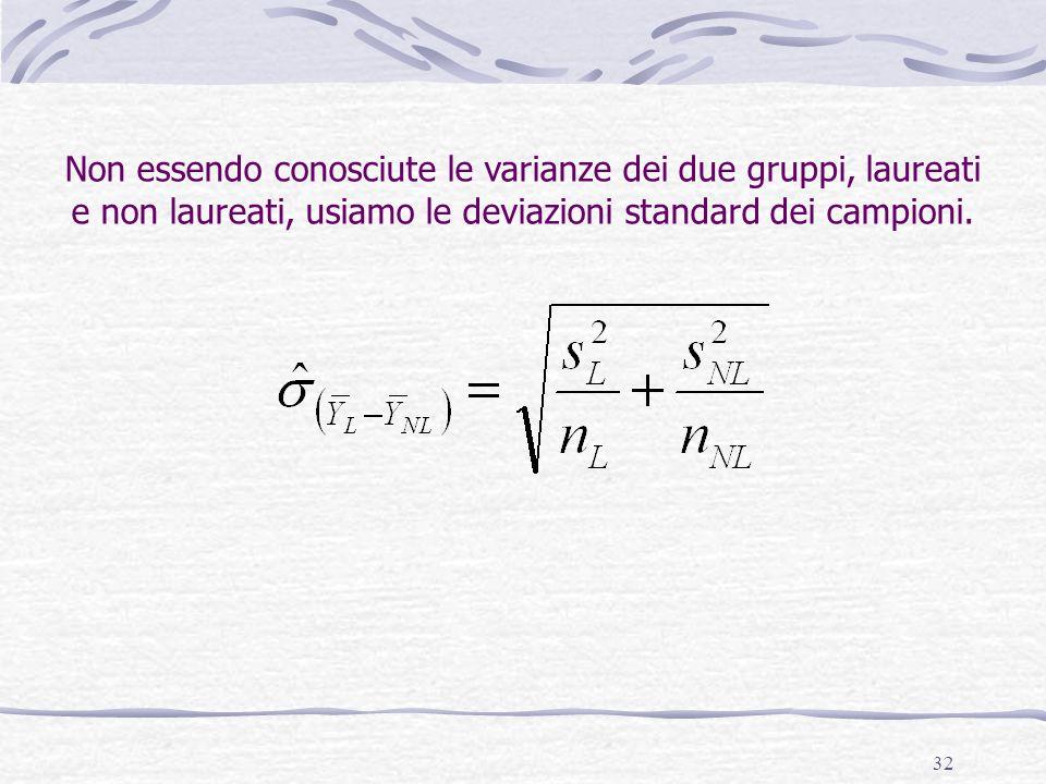 32 Non essendo conosciute le varianze dei due gruppi, laureati e non laureati, usiamo le deviazioni standard dei campioni.